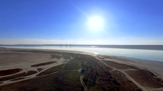Aerial View of Drying out Kuyalnik Estuary Odessa Ukraine video