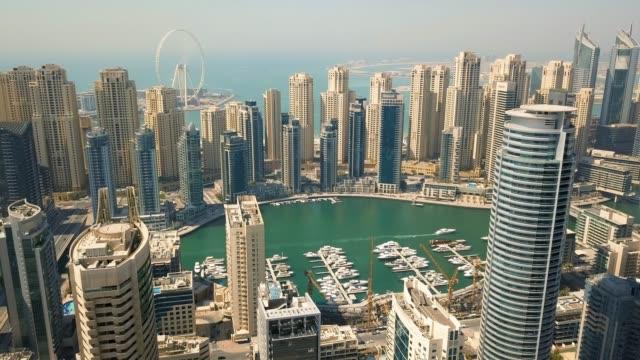aerial view of dubai marina district - cultura del medio oriente video stock e b–roll