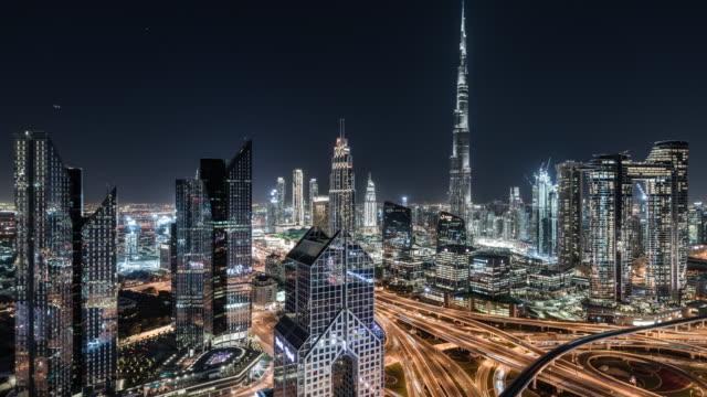T/L TD Aerial View of Dubai Skyline at Night / Dubai, UAE