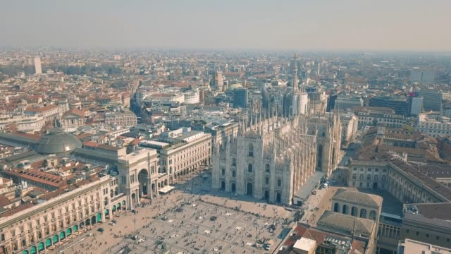 aerial view of duomo di milano - cathedrals stock videos & royalty-free footage