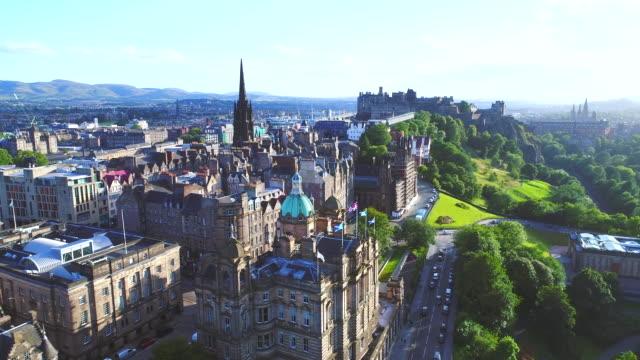 Aerial view of Edinburgh, Scotland Aerial view of Edinburgh, Scotland scotland stock videos & royalty-free footage