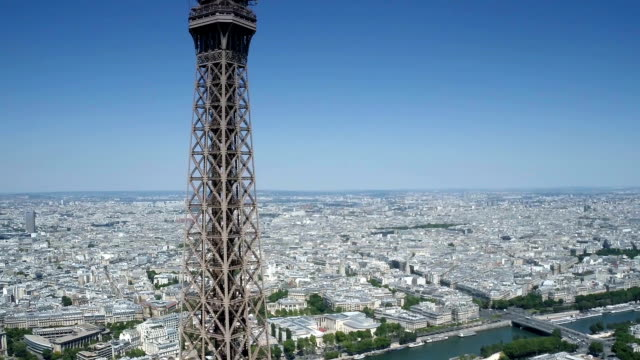 Aerial view of Eiffel tower with Paris in background video