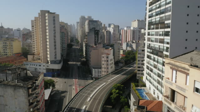 Aerial view of Elevado Costa e Silva, called Minhocao, Sao Paulo, Brazil Large Avenue empty during Covid-19 quarantine, in a sunny day brazil stock videos & royalty-free footage