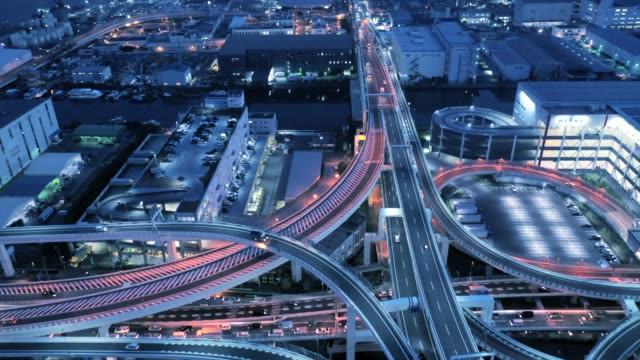 Aerial view of elevated highway at night video
