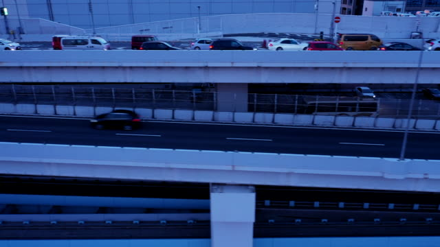 Aerial view of elevated road at twilight