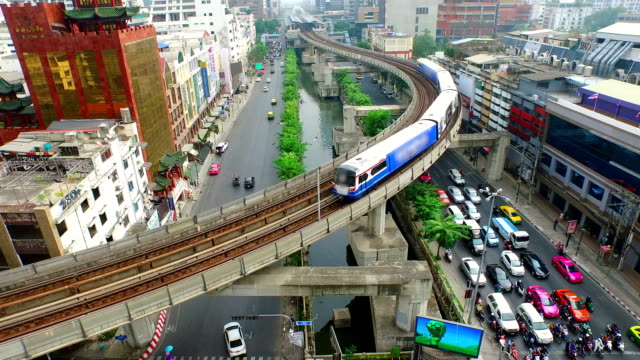 Aerial View of Elevated Train in Bangkok City video