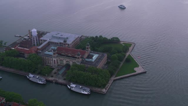 Aerial view of Ellis Island.