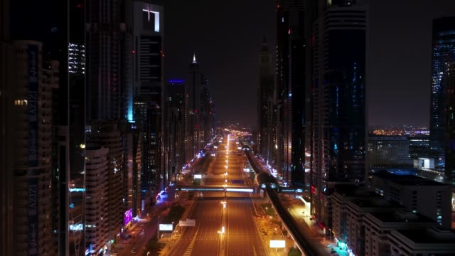 Aerial view of empty streets in Dubai, United Arab Emirates Aerial view of empty streets due to the coronavirus pandemic in Dubai, United Arab Emirates middle east stock videos & royalty-free footage
