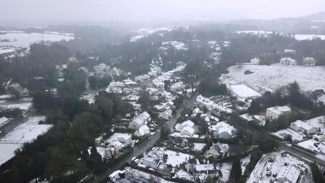 Aerial View of Enniskerry, County Wicklow After Snowfall in the Fog