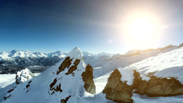 aerial view of epic mountain scenery. snow background - 全景 個影片檔及 b 捲影像