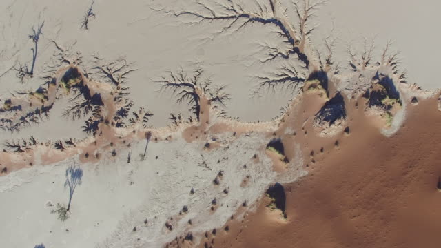 4K aerial view of errosion patterns in dead vlei inside the Namib-Naukluft National Park video