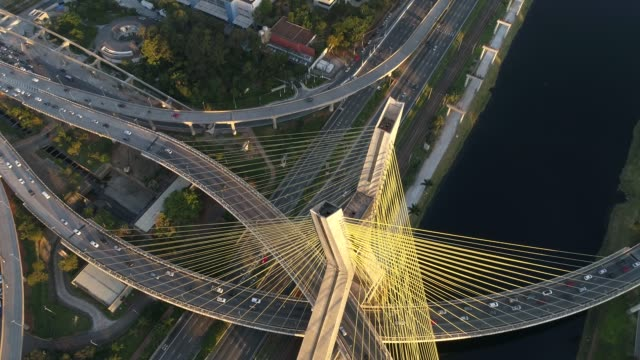 aerial view of estaiada bridge in sao paulo, brazil - contemporary architecture stock videos & royalty-free footage