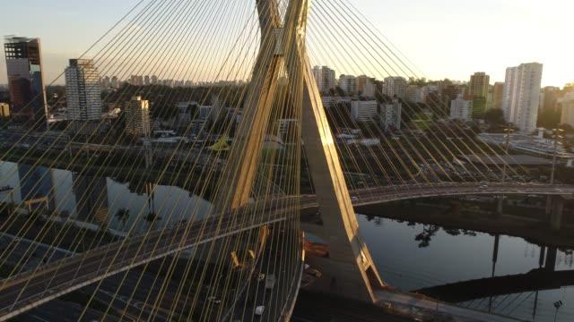 aerial view of estaiada bridge in sao paulo, brazil - são paulo video stock e b–roll
