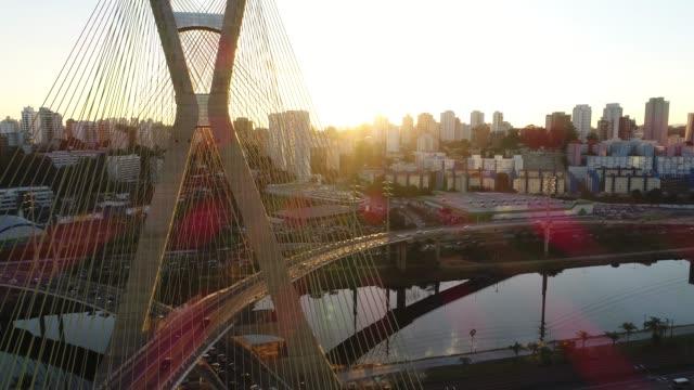 Aerial View of Estaiada Bridge in Sao Paulo, Brazil video
