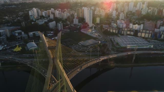 Aerial View of Estaiada Bridge in Sao Paulo, Brazil Aerial View of Estaiada Bridge in Sao Paulo, Brazil marginal tiete highway stock videos & royalty-free footage