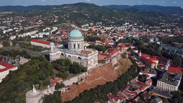Aerial view of Esztergom Cathedral, near Budapest, Hungary. 2x speeded up from 30 fps. Aerial view of Esztergom Cathedral, near Budapest, Hungary hungary stock videos & royalty-free footage