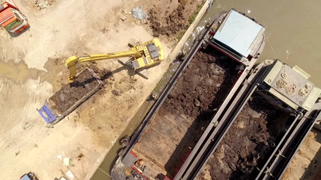 Aerial view of Excavator dredging on riverside construction