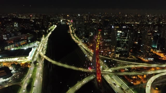 Aerial view of famous Estaiada's Bridge decorated for Christmas and New Year Celebrations. São Paulo, Brazil Aerial view of famous Estaiada's Bridge decorated for Christmas and New Year Celebrations. São Paulo, Brazil marginal pinheiros stock videos & royalty-free footage