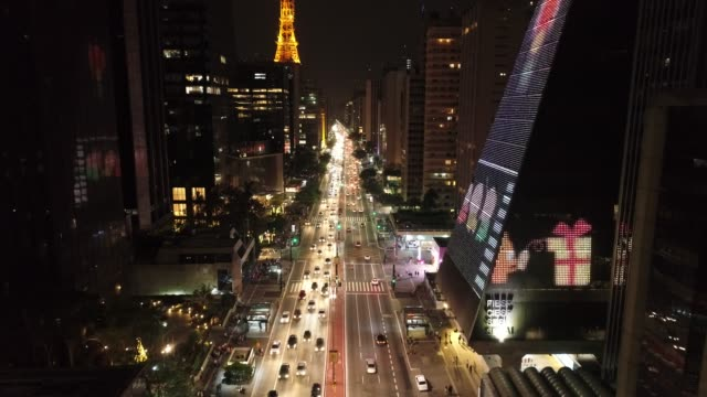 Aerial view of famous Paulista Avenue decorated for Santa Claus and New Year celebration Aerial view of famous Paulista Avenue decorated for Santa Claus and New Year celebration natal stock videos & royalty-free footage