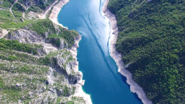 Aerial view of famous Piva Canyon with its fantastic reservoir in Montenegro video