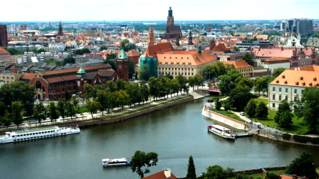 aerial view of famous polish city Wroclaw video