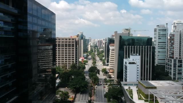 aerial view of faria lima avenue, modern architecture in sao paulo - проспект стоковые видео и кадры b-roll