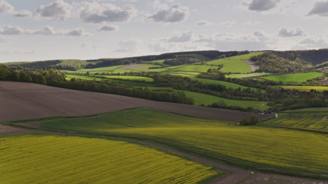 aerial view of farmland in west sussex in spring - south downs video stock e b–roll