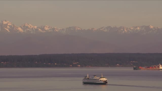 Aerial view of ferry and ships in Puget Sound. video