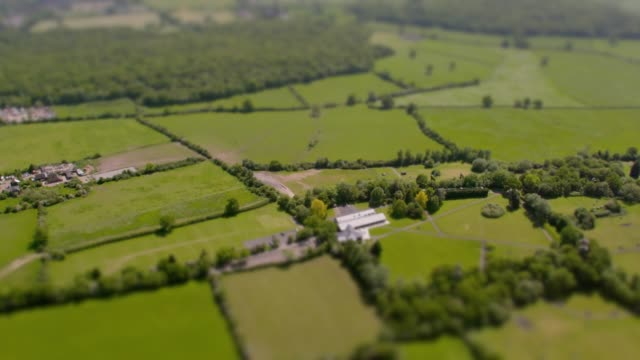 aerial view of fields and woodland. 4k - england stock videos & royalty-free footage