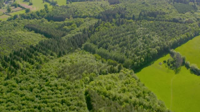 Aerial View of Fields and Woodland. 4K An aerial view of farm land and agriculture, woodland and villages. Filmed from a helicopter to the west of London, UK in lovely sunshine. uk map stock videos & royalty-free footage