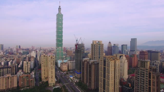 Aerial view of financial district in city Taipei at dawn, Taiwan video