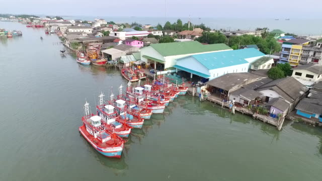 Aerial view of Fisherman village in Thailand video