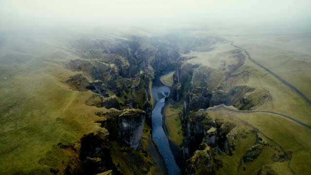 aerial view of  fjaðrárgljúfur canyon - landscape video stock e b–roll