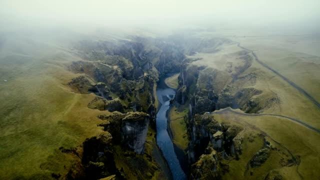 aerial view of  fjaðrárgljúfur canyon - landscapes stock videos & royalty-free footage