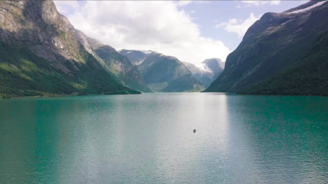 aerial view of fjord in norway. - fiordo video stock e b–roll