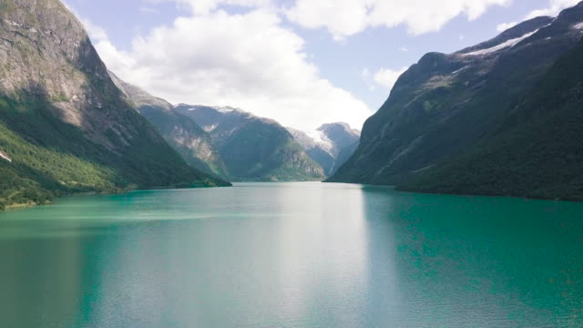 aerial view of fjord in norway. - fiordi video stock e b–roll