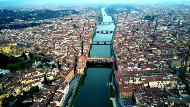 aerial view of Florence city in the early morning