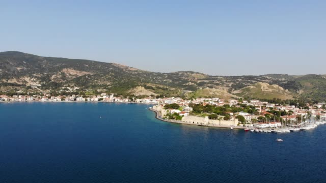 Aerial View of Foça and Marina Aerial View of Foça and Marina aegean turkey stock videos & royalty-free footage