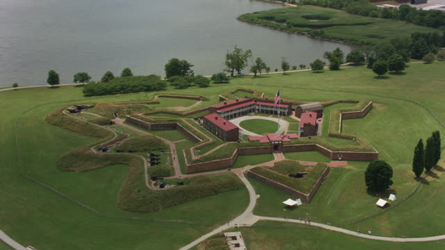 Aerial view of Fort McHenry in Baltimore. Baltimore, Maryland circa-2017, Aerial view of Fort McHenry in Baltimore.  Shot with Cineflex and RED Epic-W Helium. fort stock videos & royalty-free footage