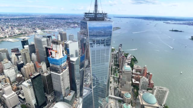 Aerial View of Freedom Tower and Lower Manhattan New York