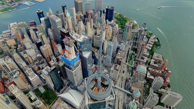 Aerial View of Freedom Tower in Lower Manhattan New York City video
