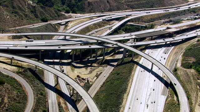 Aerial view of freeway construction, Southern California video