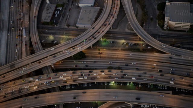 Aerial view of freeways with traffic, USA video