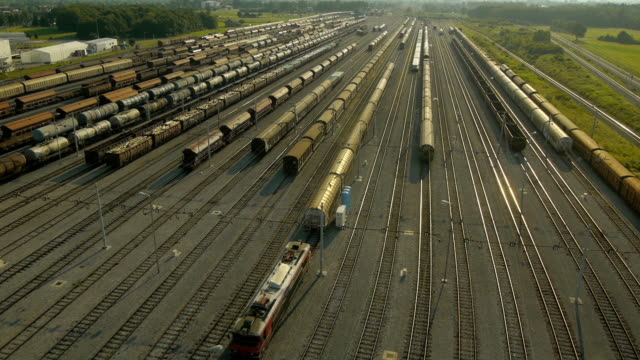 Aerial view of freight train depot video
