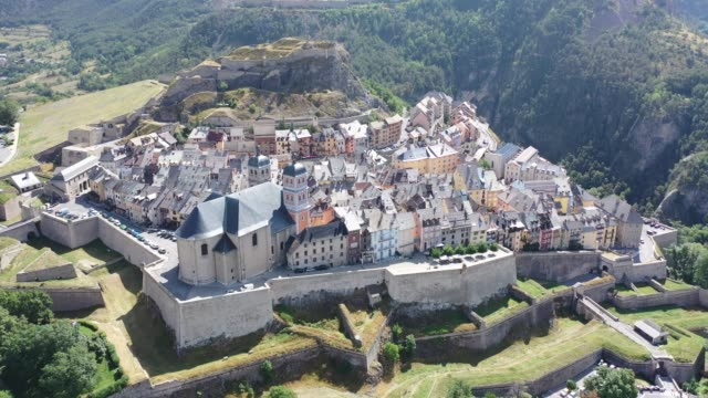 aerial view of french fortified town of briancon - hautes alpes stock videos & royalty-free footage