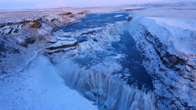 Aerial view of frozen Gulfoss waterfall in Iceland with wild river video