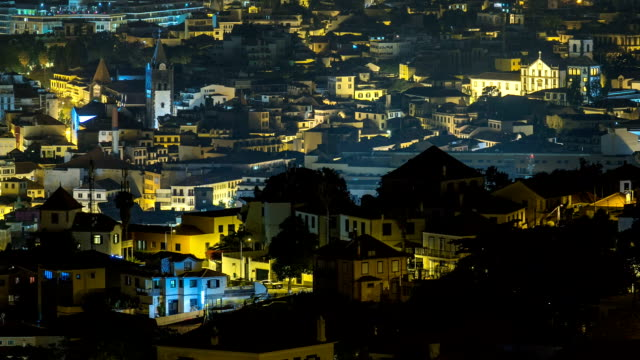 Aerial view of Funchal by night timelapse, Madeira Island, Portugal Aerial view of Funchal by night timelapse, Madeira Island, Portugal funchal stock videos & royalty-free footage