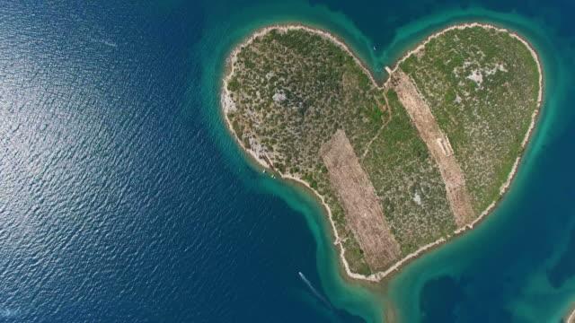 Aerial view of Galesnjak Island, Island of Love, Croatia video