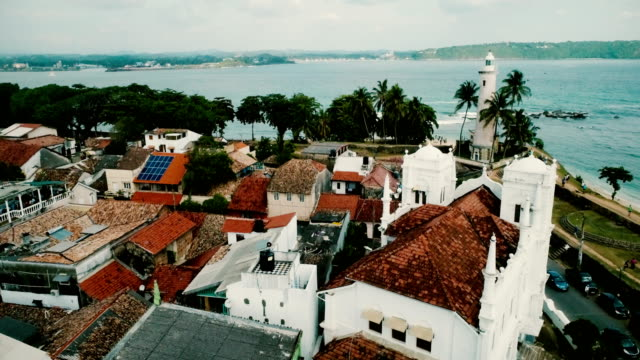 vídeos de stock e filmes b-roll de aerial view of galle fort - sri lanka