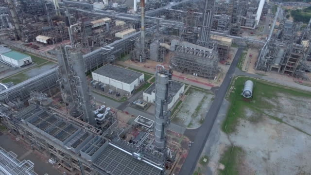 Aerial view of gas equipment, towers and pipelines video